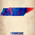 Tennessee Watercolor Map by Naxart Studio