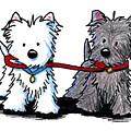 Terrier Walking Buddies by Kim Niles