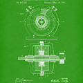 Tesla Generator 1891 Patent Art Bright Green by Prior Art Design