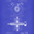 Tesla Generator 1891 Patent Art Dark Blue by Prior Art Design