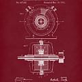 Tesla Generator 1891 Patent Art Red Dark by Prior Art Design