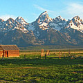 Tetons And Cabin by Scott Mahon