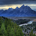 Tetons And Snake River by Dennis Hammer