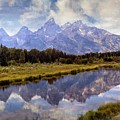 Tetons At The Landing 1 by Marty Koch