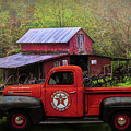 Texaco Truck On A Smoky Mountain Farm In Colorful Textures  by Debra and Dave Vanderlaan
