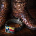 Texas Boots And Belt Buckle by David and Carol Kelly