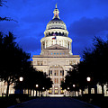 Texas State Capitol Floodlit At Night, Austin, Texas - Stock Image by Austin Welcome Center