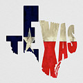 Texas Typography Map Flag by Kevin O'Hare