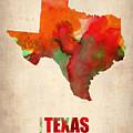 Texas Watercolor Map by Naxart Studio