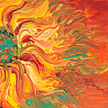 Textured Fire Sunflower by Nadine Rippelmeyer