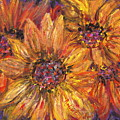 Textured Gold And Red Sunflowers by Nadine Rippelmeyer