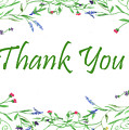 Thank You Card Watercolor Wildflowers by Irina Sztukowski