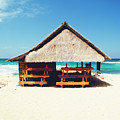Thatched Roof Cottage/shack On A Perfect White Sand Tropical Beach Bali, Indonesia by Srdjan Kirtic