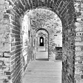 The Arches At Fort Macon North Carolina Black And White by Lisa Wooten
