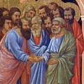 The Arrival Of The Apostles To The Virgin Fragment 1311 by Duccio