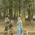 The Artist's Wife And Daughters In A Park At Heringsdorf by Anton Von Werner