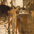 The Balcony, Spain Two Nude Bathers Standing On A Wharf by John Singer Sargent