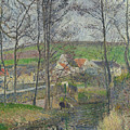 The Banks Of The Viosne At Osny In Grey Weather, Winter by Camille Pissarro