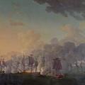 The Battle Of Louisbourg On The 21st July 1781 by Auguste Rossel De Cercy