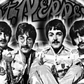 The Beatles Sgt. Pepper's Lonely Hearts Club Band Painting And Logo 1967 Black And White by Tony Rubino