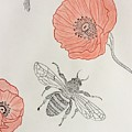 The Bee And Red Poppies  by Natalia Wallwork