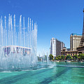 The Bellagio Fountains In Front Of The Eiffel Tower 2 To 1 Ratio by Aloha Art