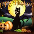 The Black Cat Greeting Card by Alessandro Della Pietra