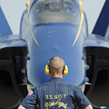the Blue Angels waits for a signal from his pilot  by Celestial Images