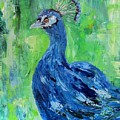 The Blues,peacock  by Sandra Reeves