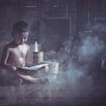 The Boy Reads A Book In The House With Kuan by Somchai Sanvongchaiya