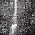 The Bridge At Multnomah Falls In Black And White by Lynn Bauer