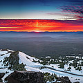 The Burning Clouds At Crater Lake by William Freebilly photography