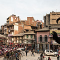 The Busy Indra Chowk Intersection In The Heart Of Kathmandu Old  by Didier Marti