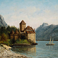 The Castle Of Chillon Evening by Gustave Courbet