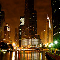 The Chicago River At Night by Dave Sribnik
