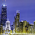 The Chicago Skyline Night-panoramic-001 by David Allen Pierson