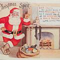 The Christmas Spirit Vintage Card Santa Next To Fireplace by R Muirhead Art