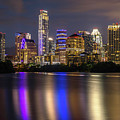 The Colorful Neon Lights On The Austin Skyline Shine Bright by Austin Bat Tours