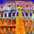 The Colosseum And Christmas  - Van Gogh Style -  - Da by Leonardo Digenio