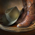 The Cowboy Boots, Hat And Lasso by David and Carol Kelly