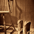 The Cowgirl Boots And The Old Chair by American West Legend By Olivier Le Queinec