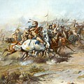 The Custer Fight by Charles Russell