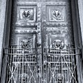 The Door At The Parthenon In Nashville Tennessee Black And White by Lisa Wooten