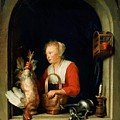 The Dutch Housewife Or The Woman Hanging A Cockerel In The Window 1650 by Dou Gerrit