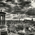 The Edinburgh Skyline, And Dugald Stewart Monument. by Phill Thornton