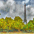 The Eiffel Tower Viewed From Place Jacques Rueff by Digital Photographic Arts