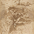 The Fall Of The Rebel Angels [recto] by Parmigianino