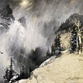 The Falling Flakes Mountain Scene. Yosemite A Mountain Snowfall by Thomas Moran
