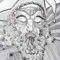 The Fool The King Original Black And White Pen Art By Rune Larsen by Rune Larsen