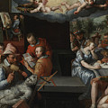 The Glorification Of Art And Diligence And The Punishment Of Gluttony And Earthly Pleasures by Jeremias van Winghe